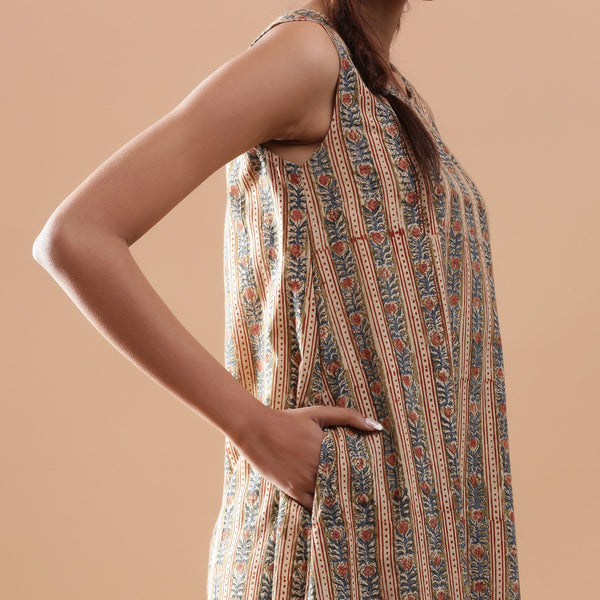 Right Detail of a Model wearing Striped Kalamkari Tiered Cotton Dress