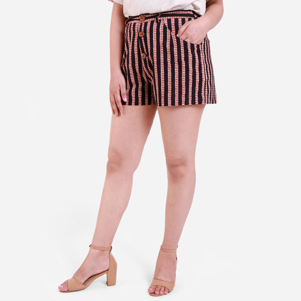 Left View of a Model wearing Striped Mobile Pocket Bagru Short Shorts