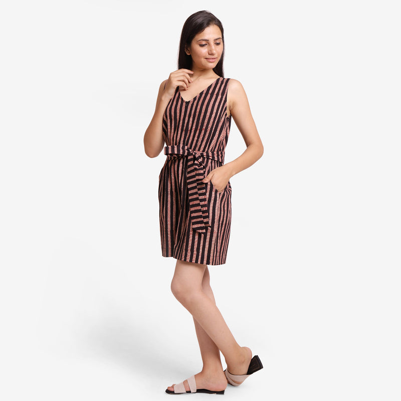 Left View of a Model wearing Striped Sleeveless Straight Fit Romper