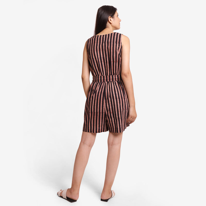 Back View of a Model wearing Striped Sleeveless Straight Fit Romper