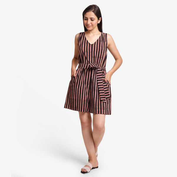 Front View of a Model wearing Striped Sleeveless Straight Fit Romper