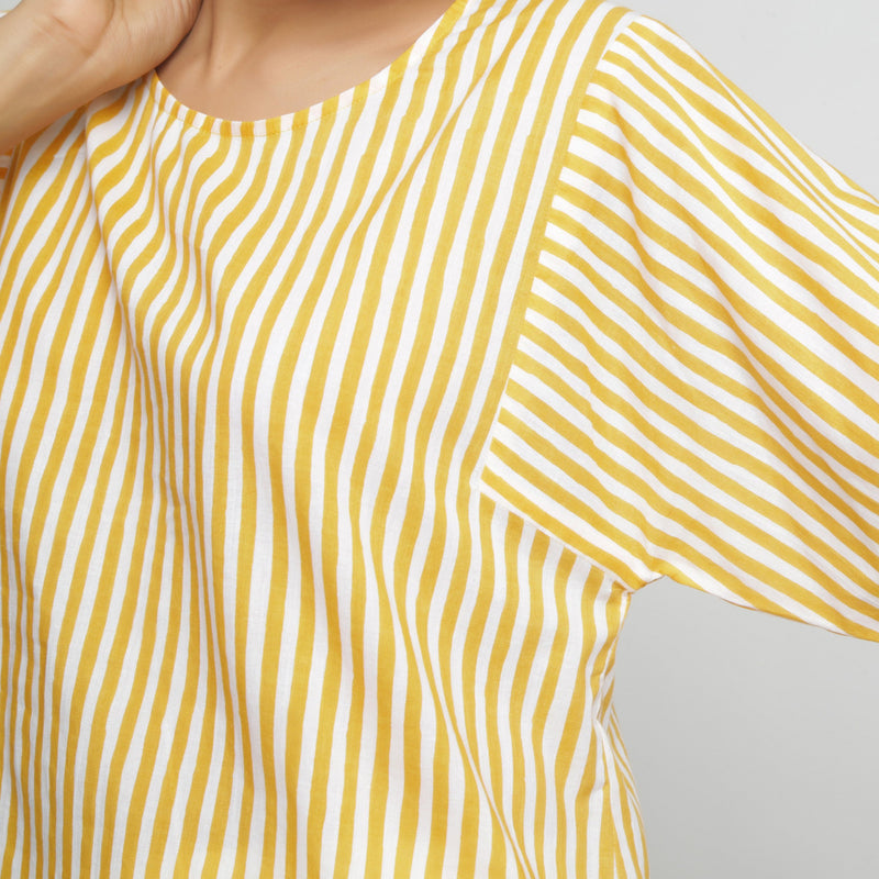 Front Detail of a Model wearing Yellow Hand Screen Printed Straight Top