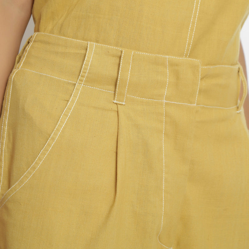 Front Detail of a Model wearing Breezy Light Yellow Top and Culottes Set
