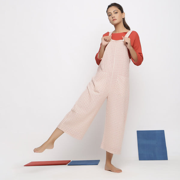 Front View of a Model wearing Sunny Red A-Line Top and Pinafore Jumpsuit Set