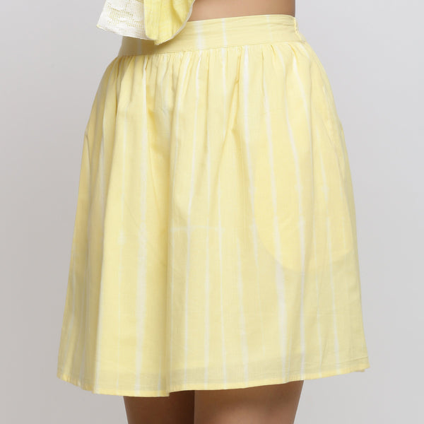 Front Detail of a Model wearing Sunny Yellow Tie And Dye A-Line Skirt