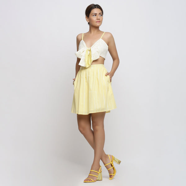 Front View of a Model wearing Sunny Yellow Tie Dyed A-Line Skirt