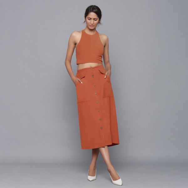 Sunset Rust Button-Down Midi Skirt