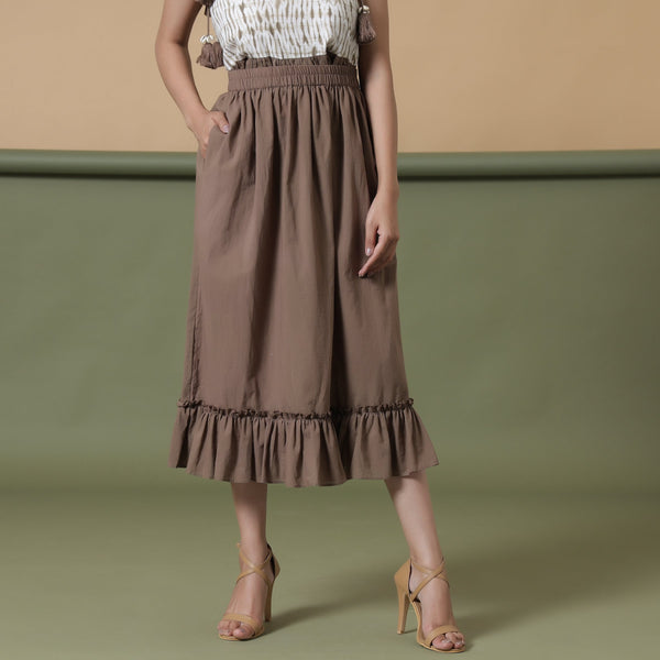 Front View of a Model wearing Taupe A-Line Ruffled Cotton Skirt