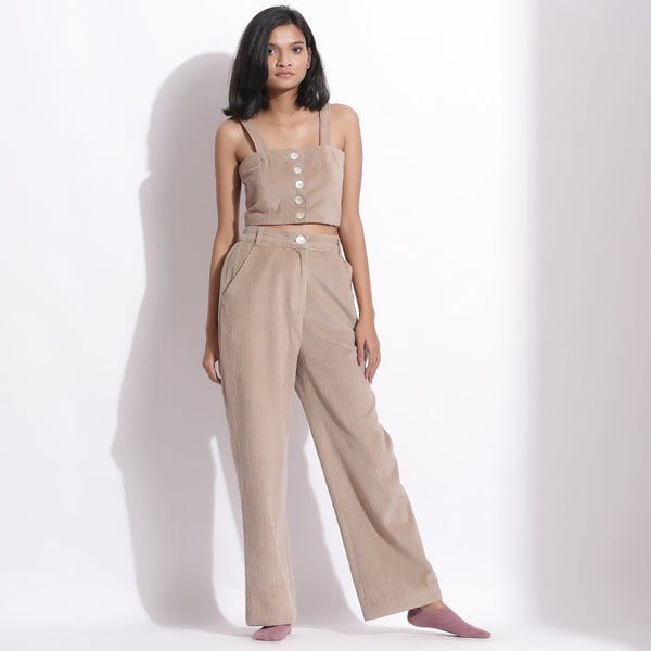 Front View of a Model wearing Beige Corduroy Wide-Legged Trouser Pant