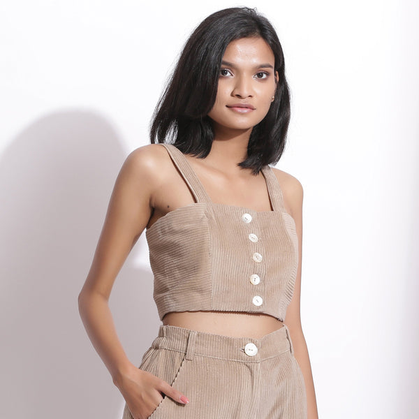 Front View of a Model wearing Taupe Beige Cotton Corduroy Crop Top