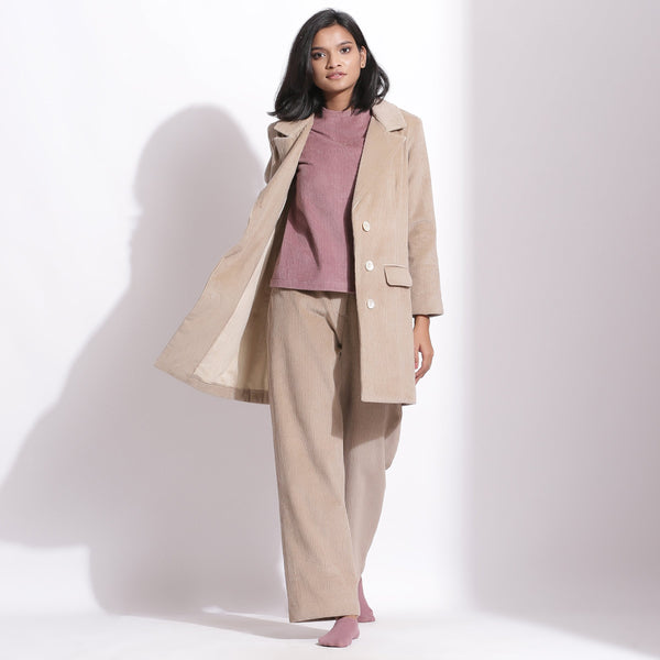 Front View of a Model wearing Taupe Beige Cotton Corduroy Long Coat