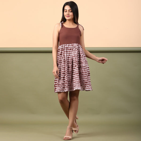 Front View of a Model wearing Taupe Shibori Gathered Short Dress
