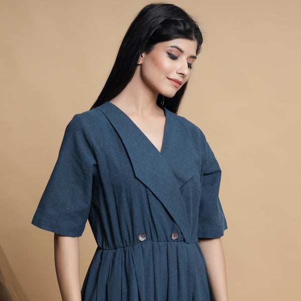 Front View of a Model wearing Teal Blue Lapel Collar Pleated Jumpsuit