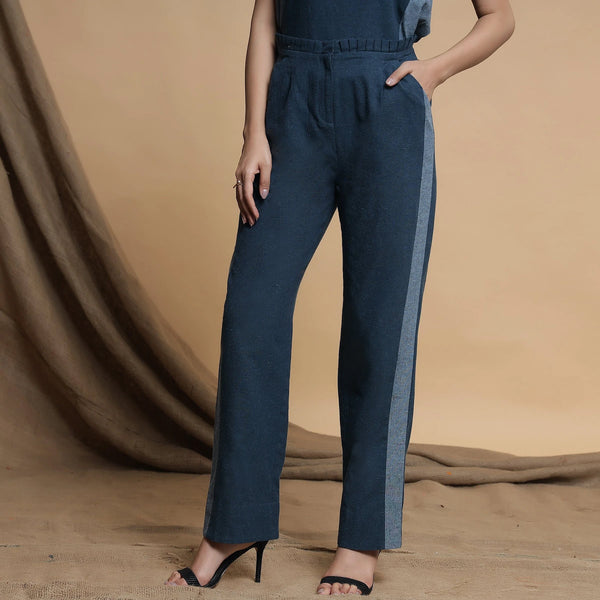 Front View of a Model wearing Teal Blue Side-Panelled Paperbag Pant