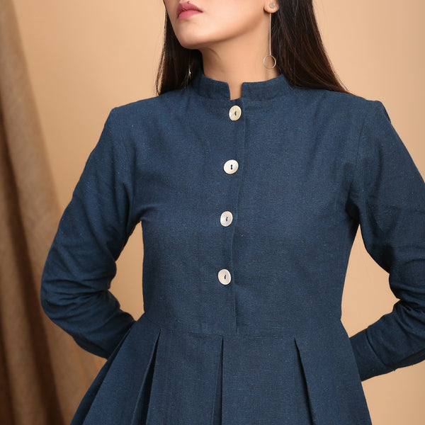 Front Detail of a Model wearing Teal Blue Standing Collar Shirt