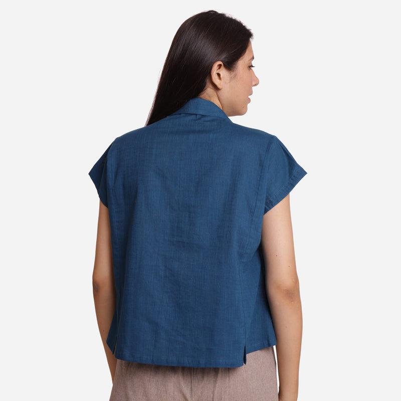 Back View of a Model wearing Teal Deep Neck Button-Down Cotton Top