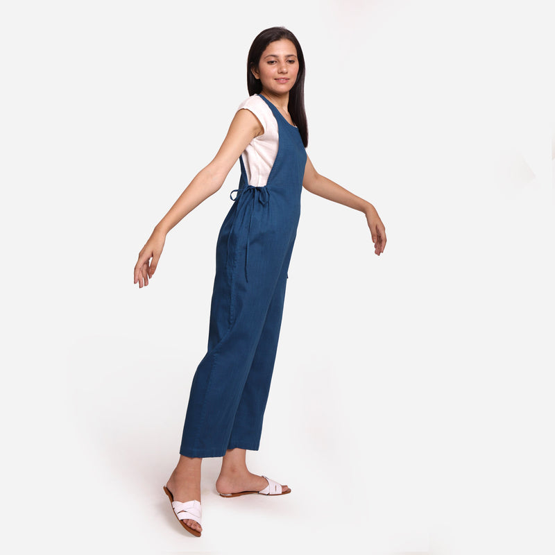 Right View of a Model wearing Teal Waist Tie Up Pinafore Jumpsuit