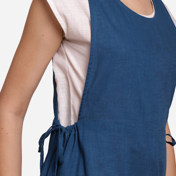 Front Detail of a Model wearing Teal Waist Tie Up Pinafore Jumpsuit