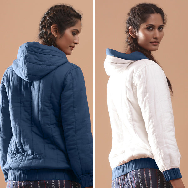 Back View of a Model wearing Teal Reversible Quilted Cotton Bomber Jacket