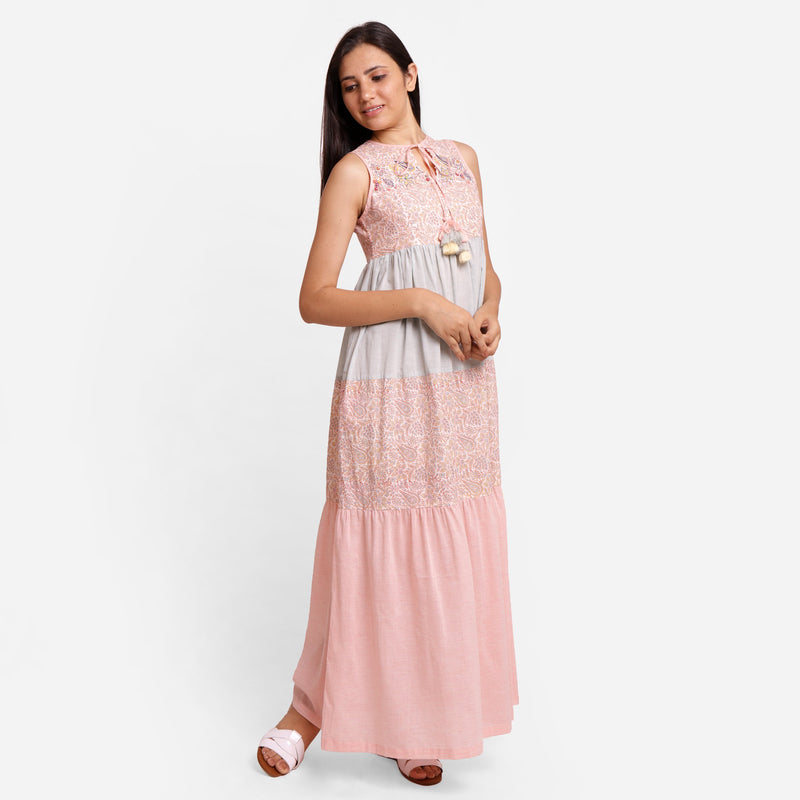 Right View of a Model wearing Powder Pink Boho Ankle Length Dress