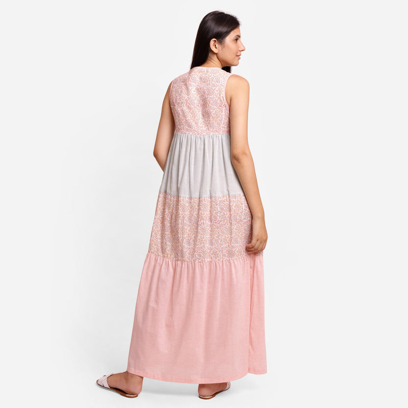 Back View of a Model wearing Powder Pink Boho Ankle Length Dress