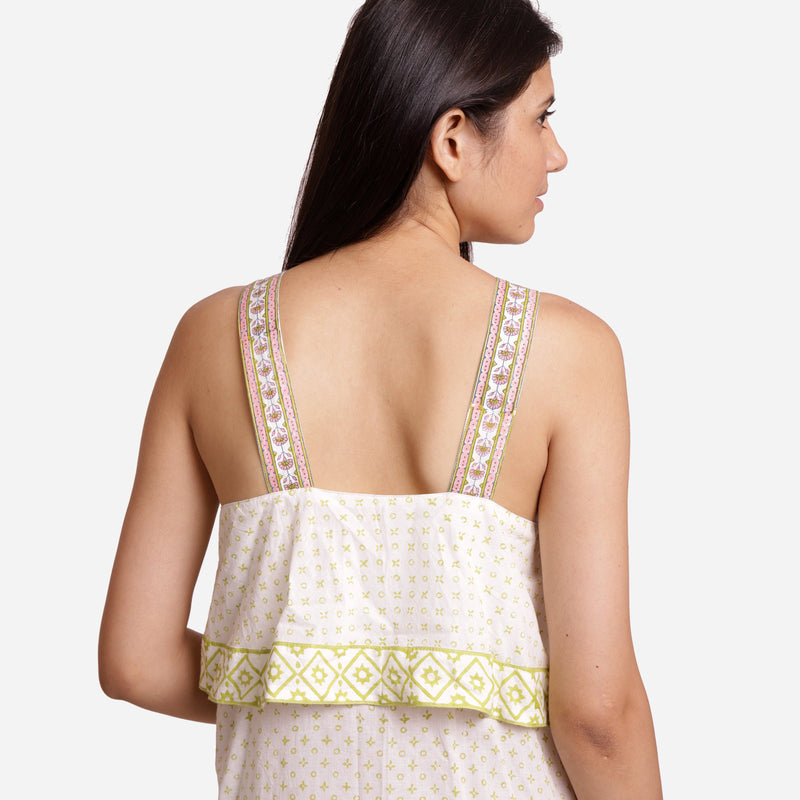 Back Detail of a Model wearing Tiered Sanganeri Block-Printed Slip Dress