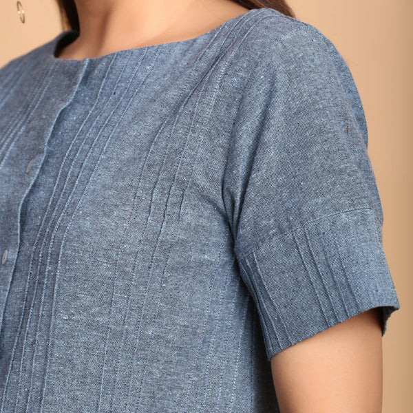 Left Detail of a Model wearing Turkish Blue Boat Neck Shirt