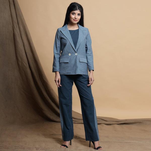 Front View of a Model wearing Turkish Blue Comfort Fit Cotton Blazer