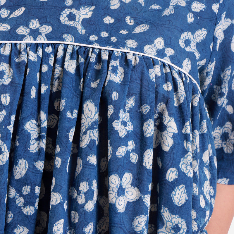 Front Detail of a Model wearing Natural Dyed Dabu Printed Gathered Top