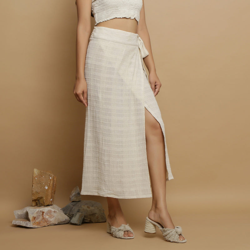 Right View of a Model wearing Undyed Banded Cotton Flax Wrap Skirt