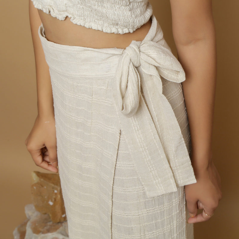 Left Detail of a Model wearing Undyed Banded Cotton Flax Wrap Skirt