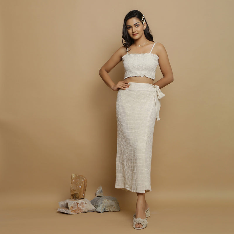 Front View of a Model wearing Undyed Banded Cotton Flax Wrap Skirt