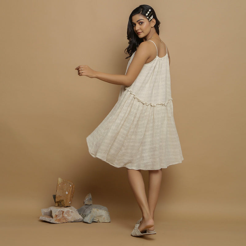 Back View of a Model wearing Undyed Cotton Flax Flared Dress