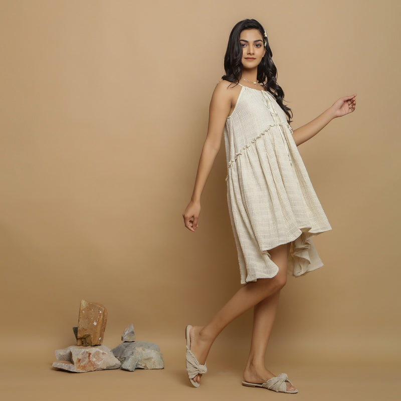 Right View of a Model wearing Undyed Cotton Flax Flared Dress
