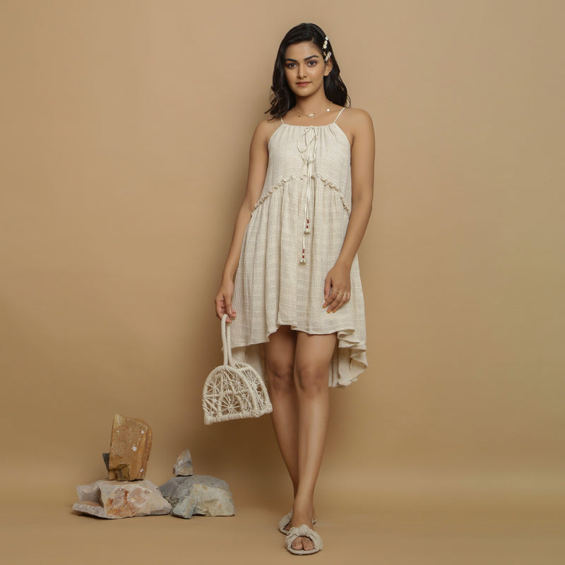 Front View of a Model wearing Undyed Cotton Flax Flared Dress