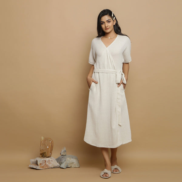 Front View of a Model wearing Flared Undyed Cotton Flax Maxi Dress