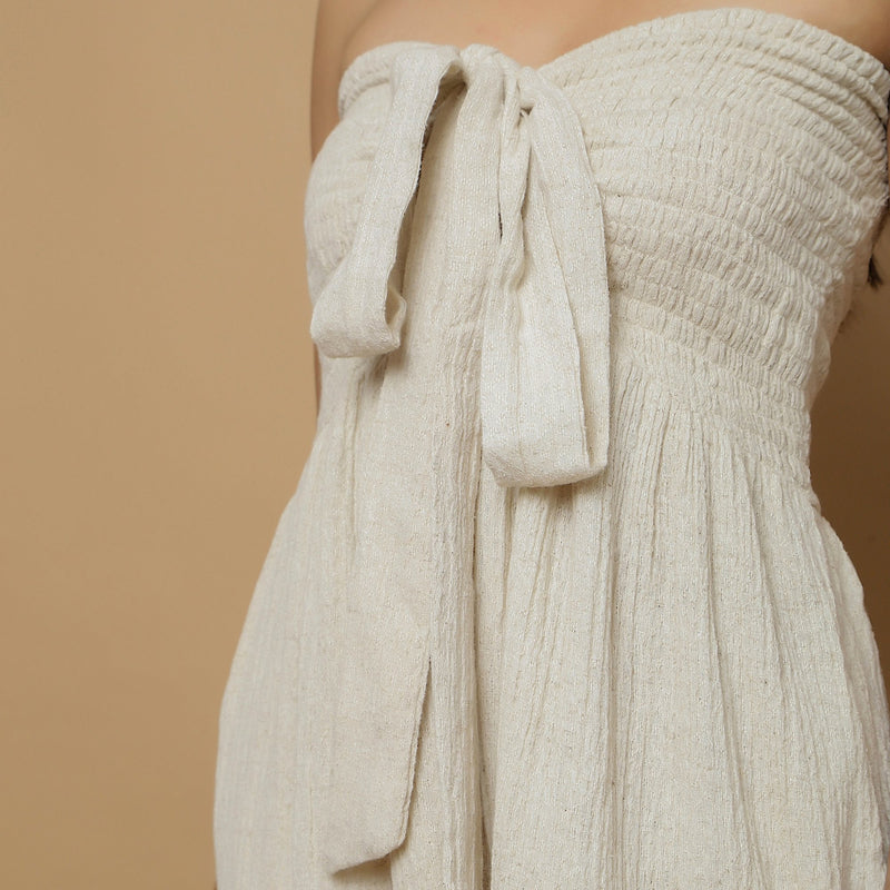 Front Detail of a Model wearing Undyed Cotton Flax Straight Jumpsuit