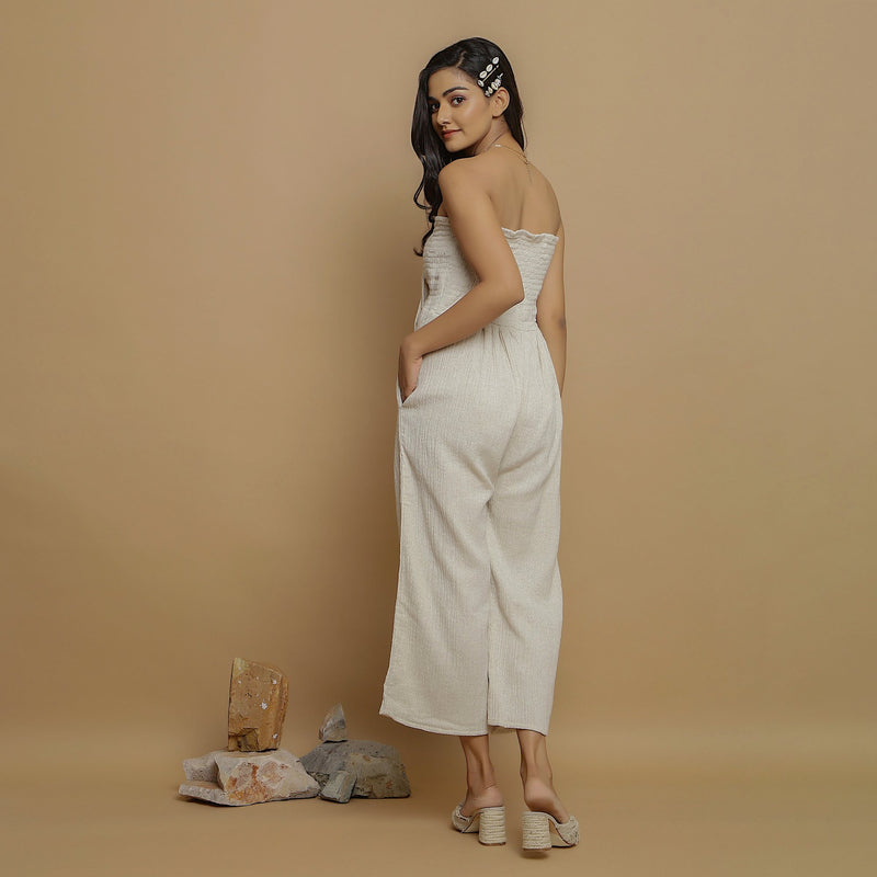 Back View of a Model wearing Undyed Cotton Flax Straight Jumpsuit