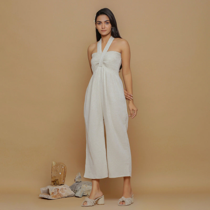 Front View of a Model wearing Undyed Cotton Flax Straight Jumpsuit