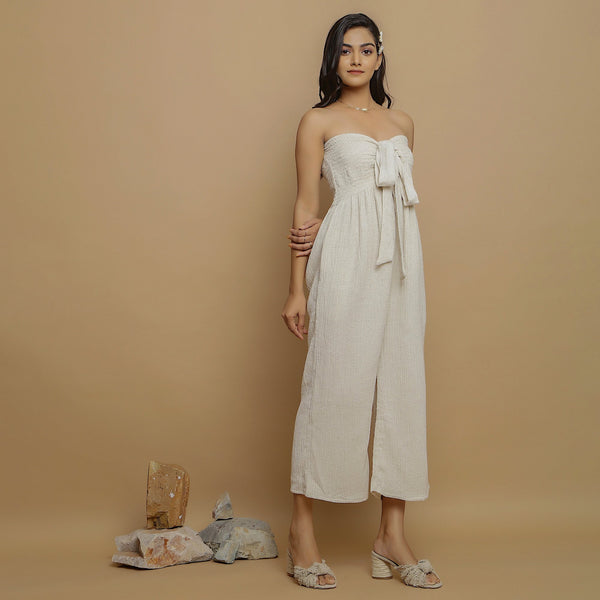 Right View of a Model wearing Undyed Cotton Flax Straight Jumpsuit
