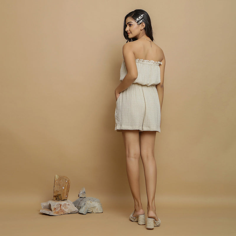 Back View of a Model wearing Undyed Crinkled Cotton Flax Tube Playsuit