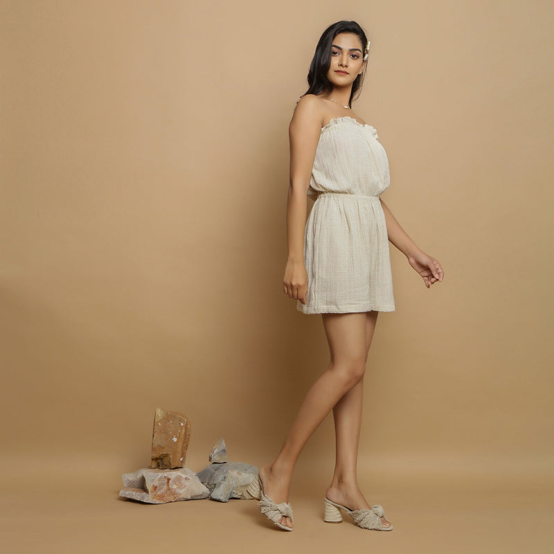 Right View of a Model wearing Undyed Crinkled Cotton Flax Tube Playsuit
