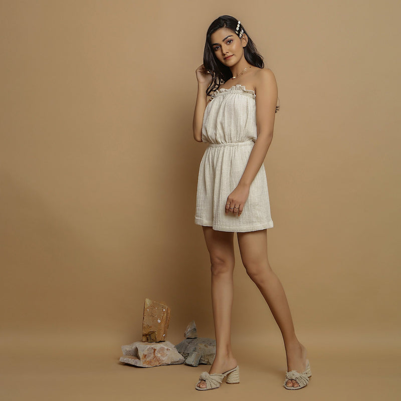 Left View of a Model wearing Undyed Crinkled Cotton Flax Tube Playsuit
