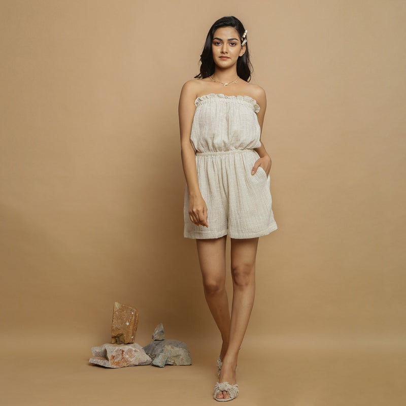 Front View of a Model wearing Undyed Crinkled Cotton Flax Tube Playsuit