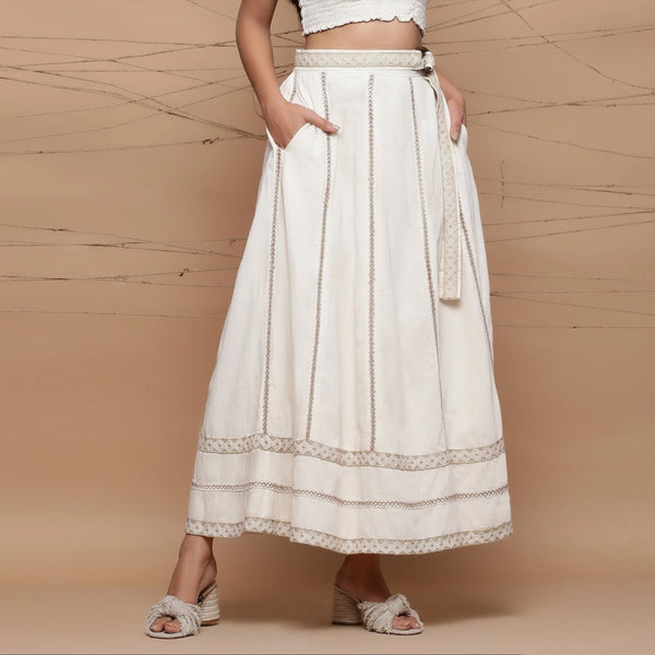 Front View of a Model wearing Undyed Cotton Jute Laced Flared Skirt