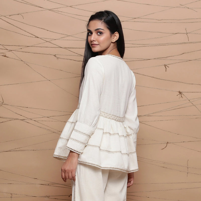 Undyed Cotton Jute Laced Peplum Top