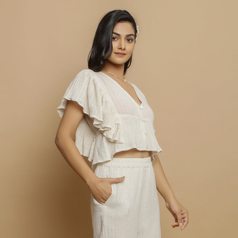Right View of a Model wearing Undyed Crinkled Cotton Gathered Crop Top