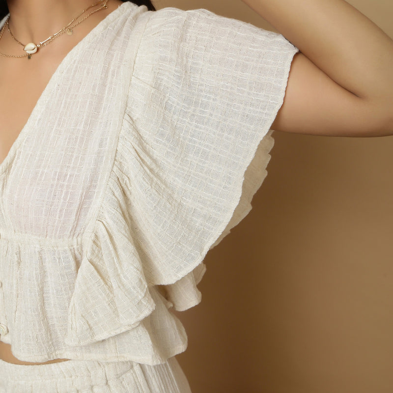 Front Detail of a Model wearing Undyed Crinkled Cotton Gathered Crop Top