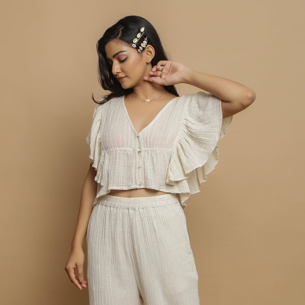 Front View of a Model wearing Undyed Crinkled Cotton Gathered Crop Top