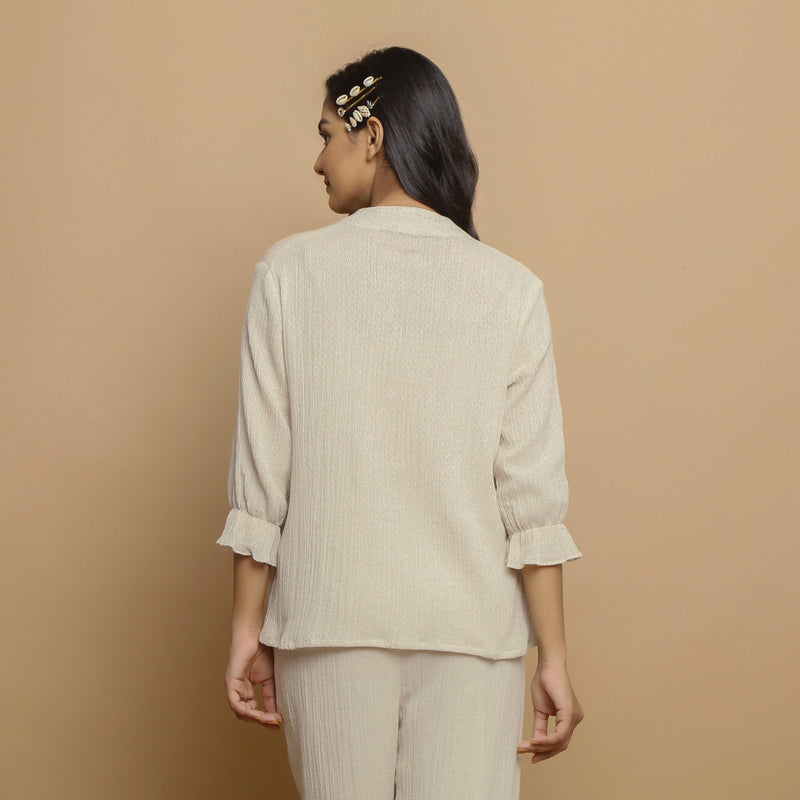 Back View of a Model wearing Crinkled Cotton Flax Undyed Straight Top